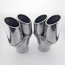 """Pair 2.75"""" Inlet Dual 3"""" Staggered Round Outlet Stainless Steel Exhaust Tips"""