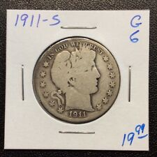 1911-S Barber Silver Half Dollar in Good+ Condition