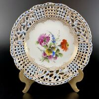 Lovely Rare Antique Carl Thieme Dresden Small Reticulated/Pierced Plate