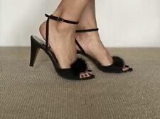 Vtg Black Leather Suede Mink Andrew Geller Ankle Wrap Heels 6 1/2 Aa