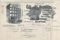 Gillette & Hennigan 1901 Fruit Merchants Positively Cash Illust Receipt 32961