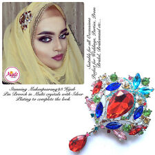 Diamante Drop Brooch Hijab Pins Scarf bridal wedding Jewellery silver multicolor
