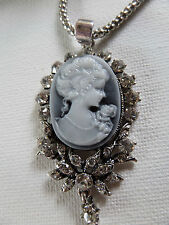 GOTHIC VICTORIAN GREY CAMEO DIAMANTÉ SURROUND SILVER COLOUR PENDANT new boxed