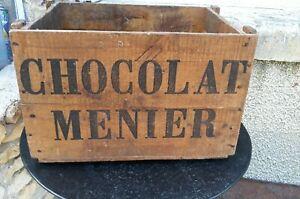 Ancienne VERITABLE CAISSE CHOCOLAT MENIER EN BOIS vintage déco cuisine