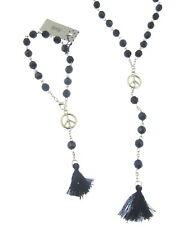 Lungo Nero Perline e simbolo di pace Collana e Bracciale set con scarpa