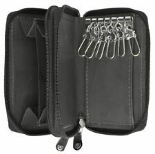 Genuine Leather Men's Key Holder Double Zip around 6 key Chain Wallet Case Brown