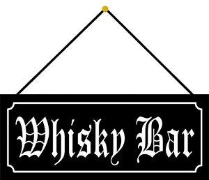 Blechschild Whisky Bar swarzes Metallschild 27x10 cm Deko mit Kordel