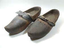 19th Century Wood Dutch Shoes with leather