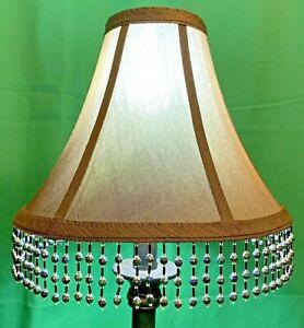 """Vintage Shabby Chic Bronze Iridescent Crepe Fabric Beaded Fringe Lamp Shade 9"""""""