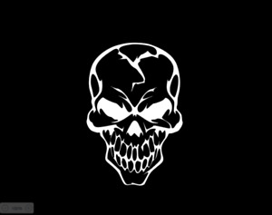 SKULL VINYL DECAL PERMANENT INDOOR OUTDOOR WINDOW BUMPER TRUCK CAR