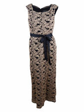 R&M Richards Women's Glitter Lace Belted Gown