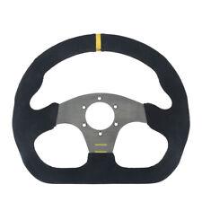 "13"" 325mm Universal Racing OMP Flat Drift Steering Wheel Aluminum+Suede Leather"