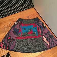 NWOT Urban Outfitters Urban Renewal knit flare mini skirt gray aqua red size S