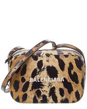 Balenciaga Everyday Leopard Print Leather Camera Bag Women's Biege