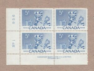 HOCKEY GAME, PLAYER = Canada 1956 #359 MNH LL Block of 4 PLATE #1