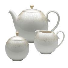 Denby Monsoon Lucille Gold Tea Set, Milk, Covered Sugar, Teapot