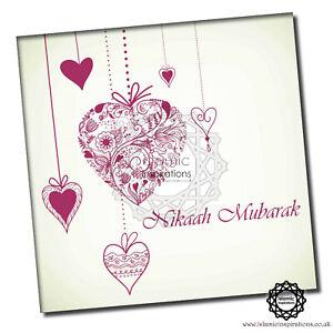 WWC022 Hot Pink Nikaah Mubarak - Islamic Wedding Greeting Cards 150x150mm