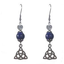 bijou gothique bretagne Boucles d'oreilles Triquetra et perle en lapis lazuli