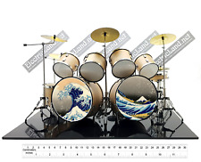mini double drum set pink floyd hokusai wave kit japan miniature batteria 1:4