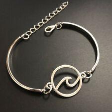 hand made fine silver Wave Ring Beach Sea Cuff Bangle Bracelet Jewelry Hallowmas