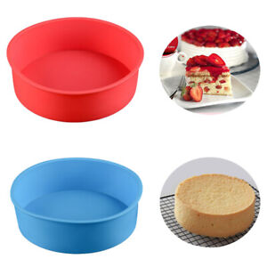 7 inch Silicone Round Cake Pan Non-stick Tins Tray Bakeware Baking Mould Tool^