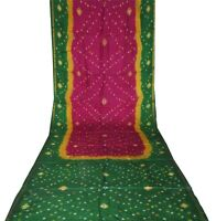 Vintage Bandhani Printed Pure Silk Pink Saree Women Bollywood Dress Wrap Sari