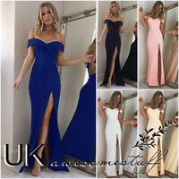 UK Womens Off Shoulder Party Dress Ladies Split Long Cocktail Dress Size 6 - 14