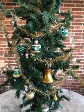 Vintage Gold Wired Tinsel,Green Gold Mercury Glass Ornaments Christmas Garland