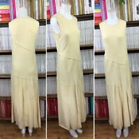 DKNY PURE dress leather suede maxi long draped FLAW vtg y2k UK 10 12 US 6 8