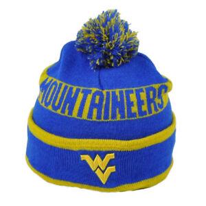 NCAA West Virginia Mountaineers Knit Beanie Pom Pom Blue Yellow Hat One Size