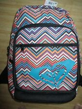 NEW* ROXY BACKPACK BOOK SCHOOL STUDENT Bag Zigzag Print Blue Logo