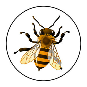 honey bee stickers, labels, tags, envelope seals, yellow bees
