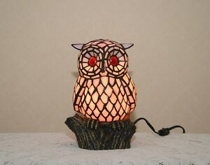 Stained Glass Handcrafted Owl Night Light Table Desk Lamp.