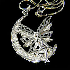 Big Fairy w Swarovski Crystal ~Tinkerbell ANGEL Wing MOON charm Pendant Necklace