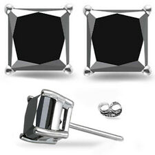 AAA+ 1.00 ct Black Princess SOLITAIRE Stud Earrings Sterling Silver graded $ 647