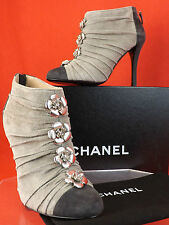 NIB CHANEL TWO TONE SUEDE RUCHED CAMELLIA FLOWERS BACK ZIP ANKLE BOOTS 38.5 8