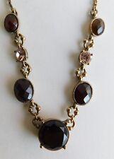 Vintage LC Liz Claiborne Faceted Amber Chocolate Peach Rhinestone Necklace 15-17