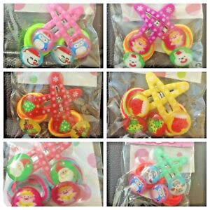 Baby Kids girls Hair Accessories CHRISTMAS Snaps Alligator Clips + BOBBLES Set