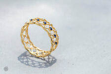 Persian Geometric Art Design 18K Yellow Gold Sapphire & Diamond Ring Size: 6.5