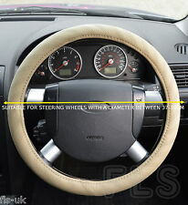 UNIVERSAL NISSAN FAUX LEATHER LOOK BEIGE STEERING WHEEL COVER