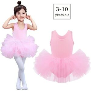 Girl Kids Ballet Tutu Dress Gymnastics Leotard Ballerina Dance Costume UK