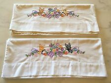 Antique Vintage Embroidered Pillowcases Flowers Butterfly set of 2 Linens Pretty