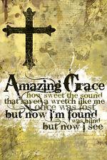 AMAZING GRACE Christian Hymn Song Lyrics Inspirational Motivational POSTER