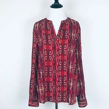 Sanctuary Womens Red Ikat Top Blouse Hidden Button-Up 3/4 Roll Tab Sleeves Sz L