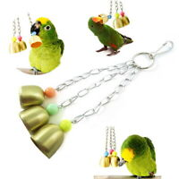 Funny Bird Parrot Toy Hanging Swing Cage Rope Pet Bird Chew Bell Toy 10.24x1.18""