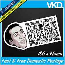 Funny Cyclist Sticker/ Decal - JDM Drift Ute 4x4 Anti Bike Rider Road MEME LOL