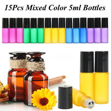 15pcs 5ml Flacon Verre Parfum Roll On Bouteilles Vide Huile Essentielle Roller