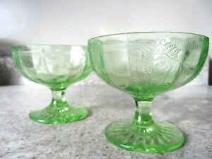 """Lot (2) Green Footed Sherbets """"Cameo, Ballerina"""" Depression Glass Stems, Hocking"""