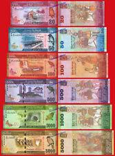 SRI LANKA FULL SET 20 50 100 500 1000 & 5000 Rupees 2015 2016 Pick 123/128 UNC