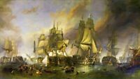 THE BATTLE OF TRAFALGAR WALL ART CANVAS PICTURE PRINT 20X30INCH